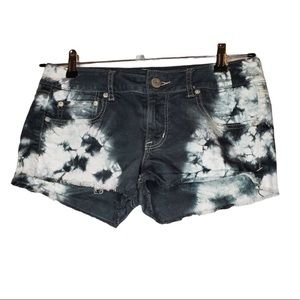 American Eagle Tie Dye Black and White Shorts
